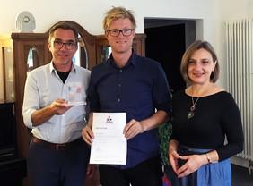 Den Preis für die beste Posterpräsentation erhielt Dirk Boonzajer.Foto: Leibniz-IPHT